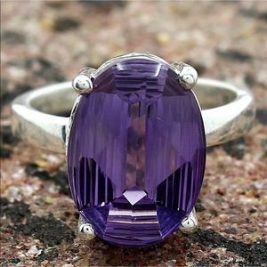 Jewelry - artisan faceted African amethyst silver ring